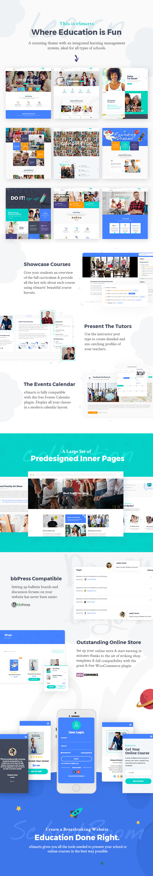 WordPress theme eSmarts - A Modern Education and LMS Theme (Education)
